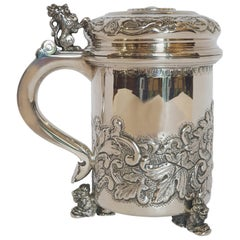 20th Century Silver Tankard with Figural Lion Accents, Hungary, 1996