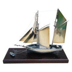 20th Century Silver Twin Masted Yacht, Desk Ornament