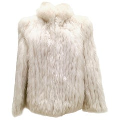 20th Century Silver Winter White Fox Fur Jacket