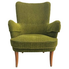 20th Century Single Swedish Armchair by Carl Malmsten, Green Side Chair