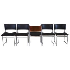 20th Century SM08 Nickel Teak Dining Chairs by Cees Braakman for Pastoe, 1950s