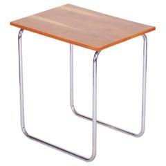 20th Century Small Czech Restored Chrome Bauhaus Oak Table, Robert Slezák, 1930s