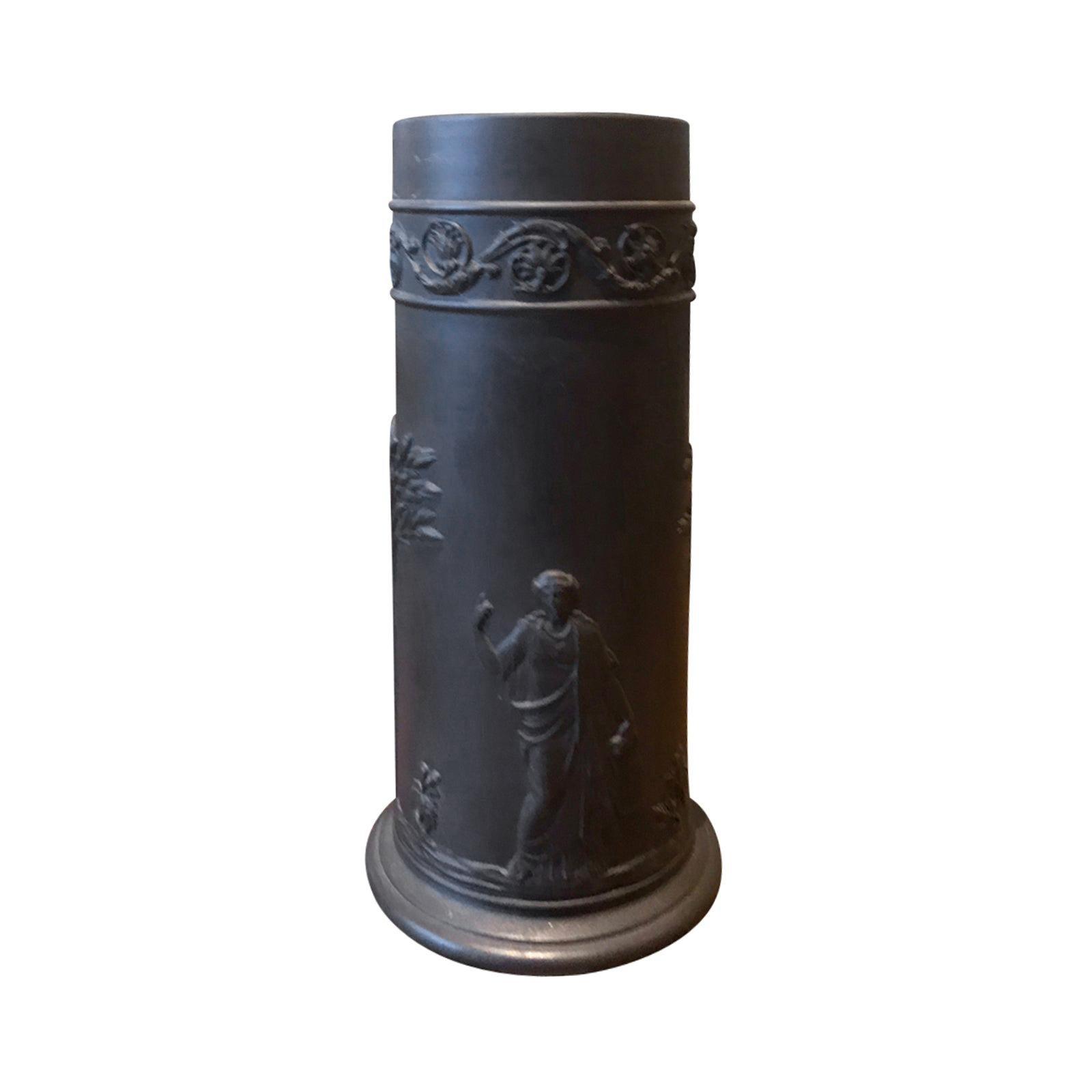 20th Century Small English Wedgwood Basalt Vase / Brush Pot, Marked