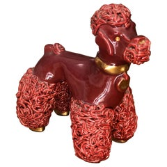 20th Century Small French Sculpture of Poodle in Dark Red Ceramic by Prunet