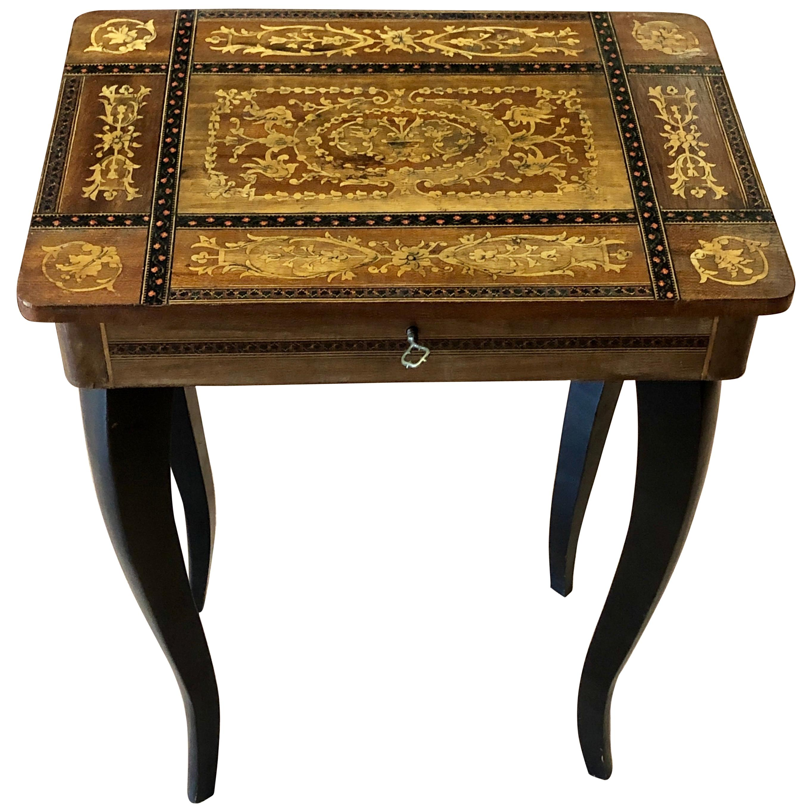 2cc02ae58 20th Century Small Inlaid Side Table with Jewelry Compartment and Music Box  For Sale at 1stdibs