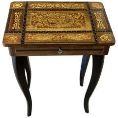 20th Century Small Inlaid Side Table with Jewelry Compartment and Music Box