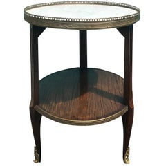 20th Century Small Round Marble Side Table with Bronze Gallery