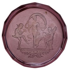 20th Century Small Round Neoclassical Amethyst Glass Etched Intaglio Dish