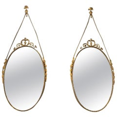 20th Century Small Swedish Pair of Oval Brass Wall Mirrors