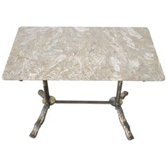 20th Century Sofa Table in Gilded Bronze with Marble Top