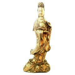 20th Century Solid Brass Asian Goddess Sculpture