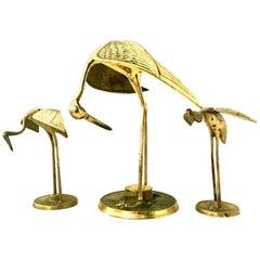 20th Century Solid Brass Set of Three Crane Birds