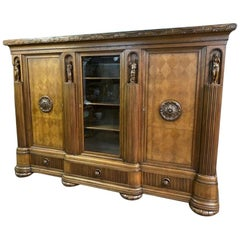 20th Century Solid Oak Library, Rich Woodcarving