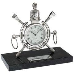 20th Century Solid Silver Horse Racing Clock, Edinburgh, circa 1983