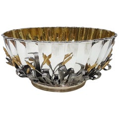 20th Century Solid Silver Italian Handmade Centrepiece with Decorations