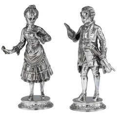 20th Century Solid Silver Pair of Figures by Garrard & Co, circa 1986