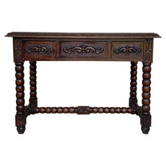 20th Century Spanish Baroque Style Oak Library Table or Desk