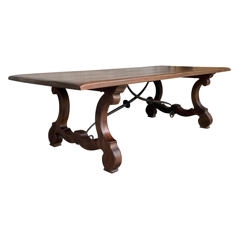 20th Century Spanish Baroque Style Walnut Lyre Legs Trestle Dining Farm Table