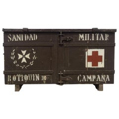 20th Century Spanish Black Wood Doctor's Military Trunk, circa 1940
