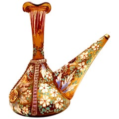 20th Century Spanish Blown Glass Hand Painted Vino Bottle