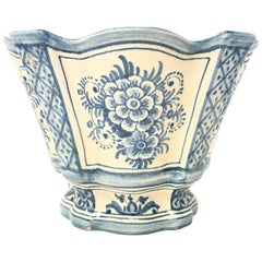 20th Century Spanish Blue White Cache Pot, Scalloped Edges & Hand-Painted Fleurs