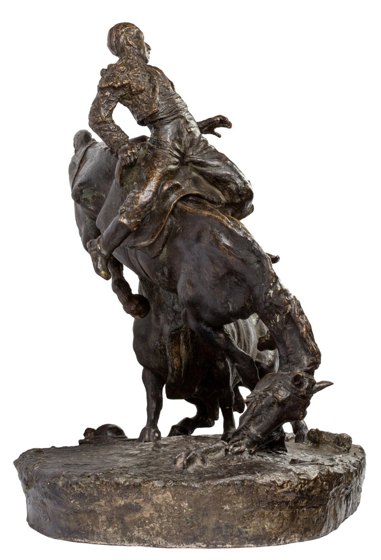 20th Century Spanish Bronze Picador and Bull Sculpture by Juan Polo Velasco In Good Condition For Sale In Madrid, ES