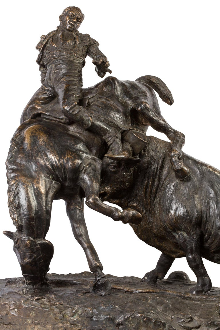 Cast 20th Century Spanish Bronze Picador and Bull Sculpture by Juan Polo Velasco For Sale