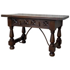 20th Century Spanish Carved Table with Iron Stretchers and Drawer