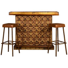 20th Century Spanish Cocktail Bar and Pair of Matching Stools, circa 1970