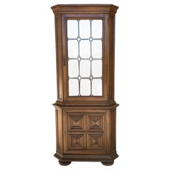 20th Century Spanish Colonial Corner Vitrine with Lead Solders in Glass