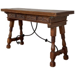 20th Century Spanish Console Fold Out Table with Iron Stretcher and Two Drawers