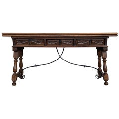 20th Century Spanish Console Folding Table with Iron Stretcher and Three Drawers
