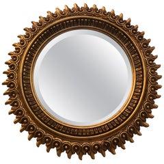 20th Century Spanish Giltwood Sunburst Mirror Double Layered Leaf Frame