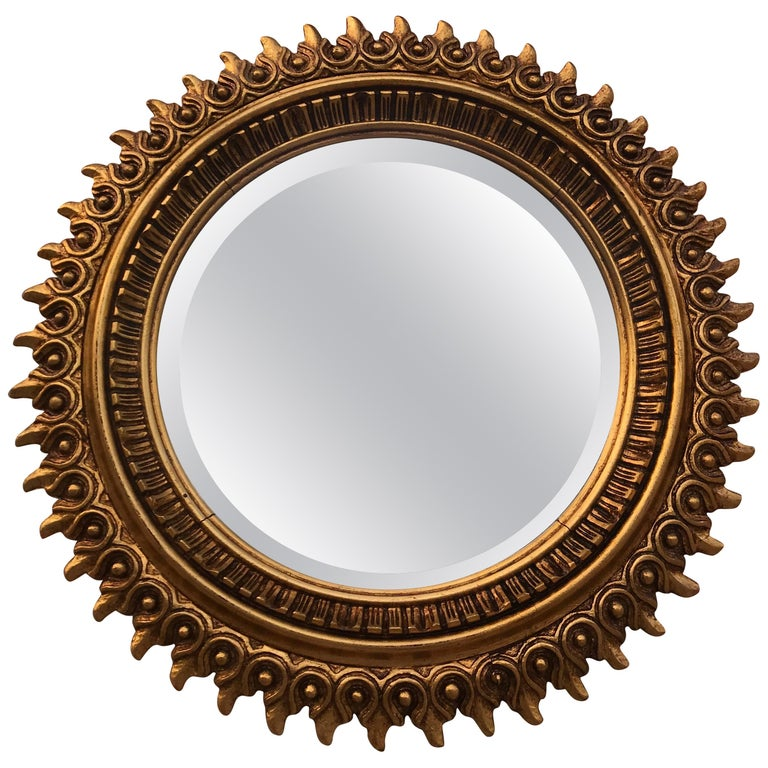 20th Century Spanish Giltwood Sunburst Mirror Double Layered Leaf Frame For Sale