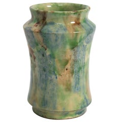 Mid-Century Modern Spanish Green and Blue Glazed Ceramic Vase