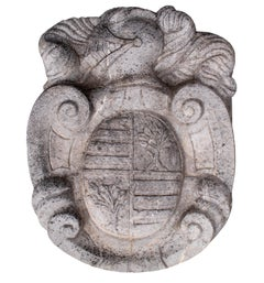 20th Century Spanish Hand Carved Stone Coat of Arms