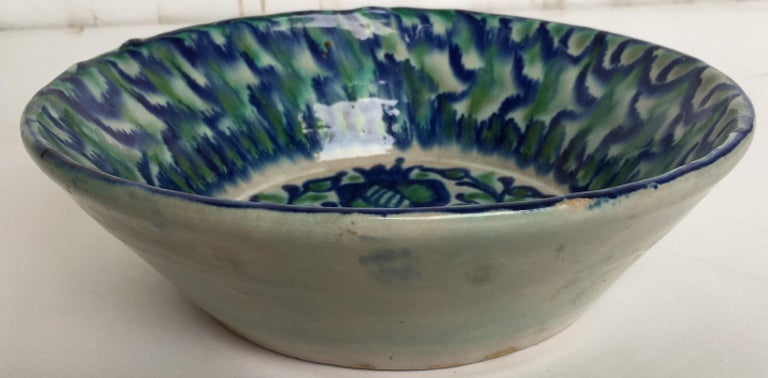 Baroque Revival 20th Century Spanish Hand Thrown Ribbed Blue-Green Glaze Studio Pottery Bowl For Sale