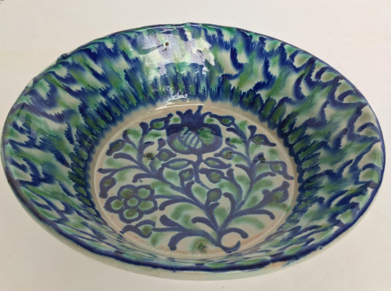 Ceramic 20th Century Spanish Hand Thrown Ribbed Blue-Green Glaze Studio Pottery Bowl For Sale