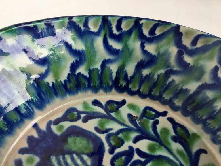 20th Century Spanish Hand Thrown Ribbed Blue-Green Glaze Studio Pottery Bowl For Sale 1