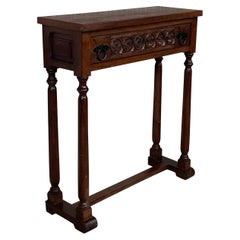 20th Century Spanish Little Console Table with One Drawer and Turned Legs