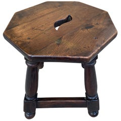 20th Century Spanish Rustic Walnut Low Stool or Low Table