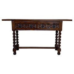 20th Century Spanish Tuscan Console Table with Two Drawers and Solomonic Legs