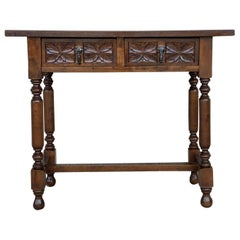 20th Century Spanish Tuscan Console Table with Two Drawers and Turned Legs
