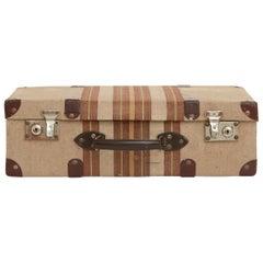 20th Century Spanish Tweed Suitcase with Leather Corners