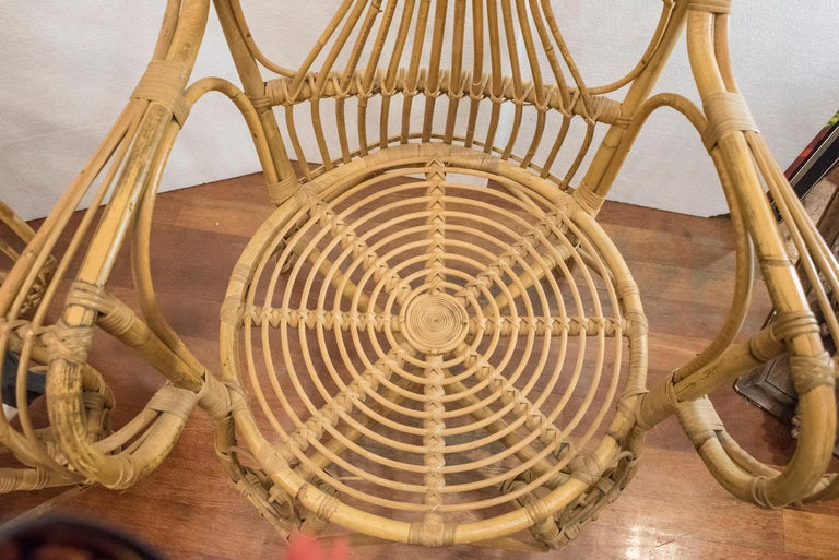 20th Century Spanish Wiker Couple of Armchairs, 1960 For Sale 11