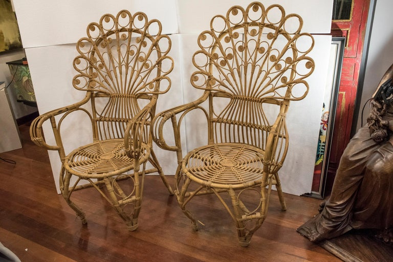 20th Century Spanish Wiker Couple of Armchairs, 1960 In Good Condition For Sale In Valladolid, ES