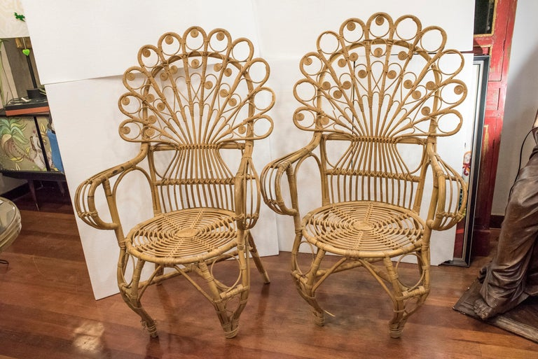Mid-20th Century 20th Century Spanish Wiker Couple of Armchairs, 1960 For Sale
