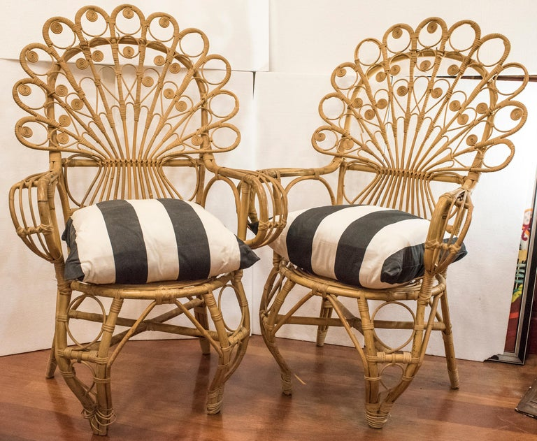 20th Century Spanish Wiker Couple of Armchairs, 1960 For Sale 2