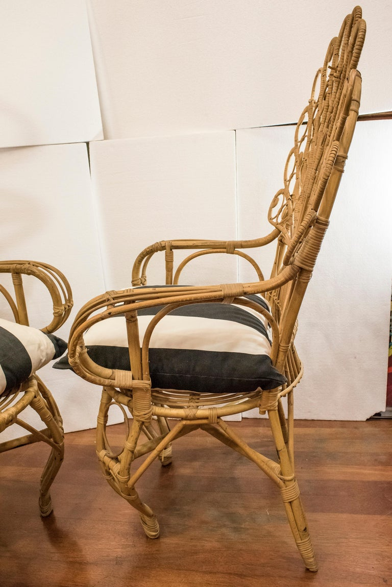 20th Century Spanish Wiker Couple of Armchairs, 1960 For Sale 3