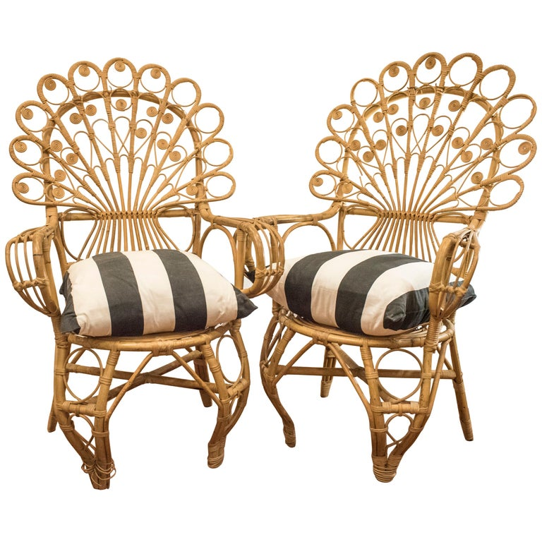 20th Century Spanish Wiker Couple of Armchairs, 1960 For Sale